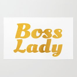 Boss Lady in Cursive Bold Gold Rug