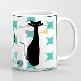 Mid-Century Modern Atomic Art - Teal - Cat Coffee Mug