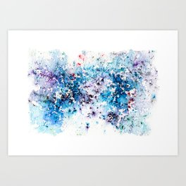 Blue Watercolour Rain Art Print