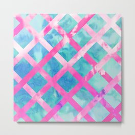 Bright Pink Purple Lattice Stripes Teal Watercolor Metal Print