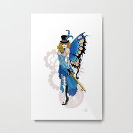 Pink and Blue Steampunk Fairy Metal Print