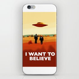 Mulder and Scully I want to believe poster iPhone Skin