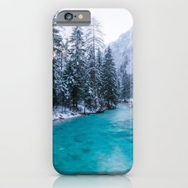 Magical river in enchanted winter forest iPhone Case