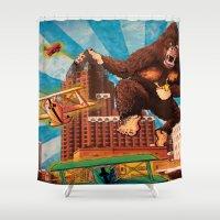 milwaukee Shower Curtains featuring Milwaukee vs. The Super Ape by Amanda Iglinski