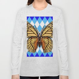 ABSTRACTED  BROWN SPICE  MONARCHS BUTTERFLY  &   BLUE-WHITE HARLEQUIN PATTERN Long Sleeve T-shirt