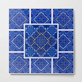 Geometric Fractal Moroccan Tile Quilt Metal Print