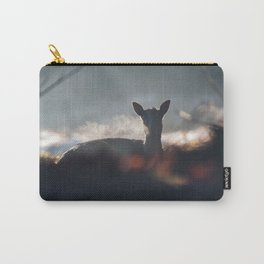 Mysterious little fallow deer lying down in misty forest. Carry-All Pouch