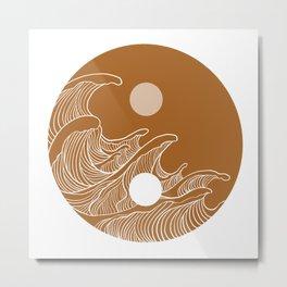 Yin Yang Wave Sun and Moon  Metal Print