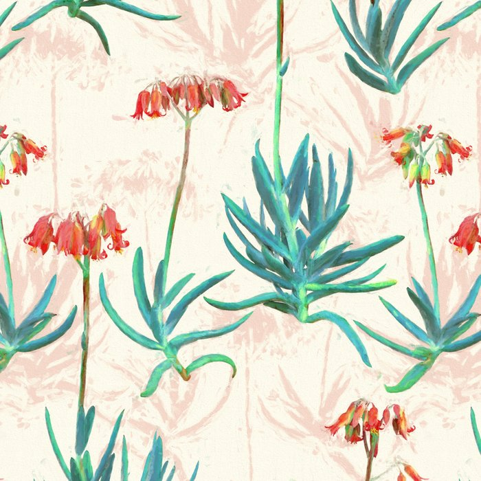 Flowering Succulent Pattern in Cream, Coral and Green Leggings