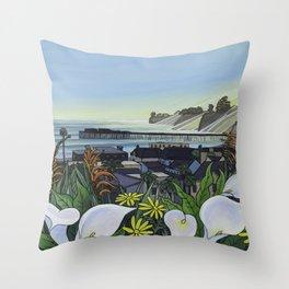 Capitola Village Wharf Throw Pillow