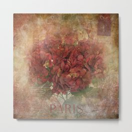 Vintage Red Hydrangea Flowers In Paris Metal Print