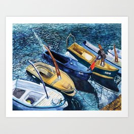 Watercolor Print - Boats in Budva  Art Print