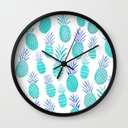 Pineapple Watercolor Illustration in Blue Wall Clock