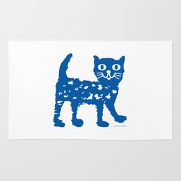 Navy blue cat pattern Rug