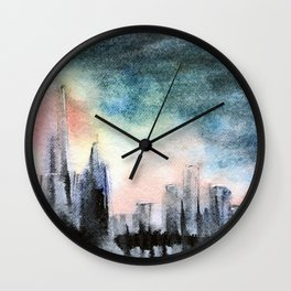 As Darkness Closes In #Chicago #watercolor  Wall Clock