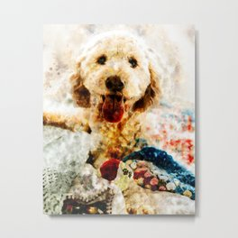 Cute Dog Playing With The Ball Metal Print