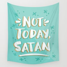 Not Today, Satan – Mint & Gold Palette Wall Tapestry