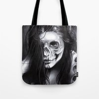 day of the dead Tote Bags featuring Day Of The Dead by leonmorley