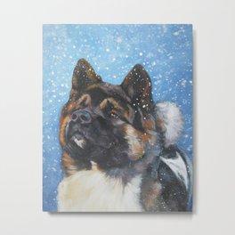 American Akita Fine Art Dog Painting by L.A.Shepard Metal Print