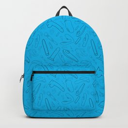 Blue Vibrator & Dildo Sex Toy Collection Print Backpack