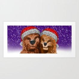 Christmas bear hug Art Print