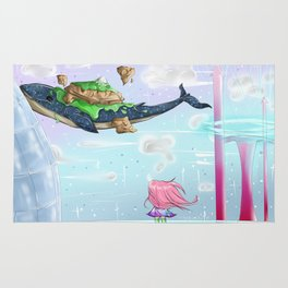 flying whale Rug