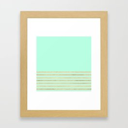 Mint and Gold stripes Framed Art Print