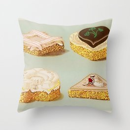 Decorated French Cakes Gateaux, Pastry, petit fours - T. Percy Lewis & A. G. Bromley Poster Throw Pillow
