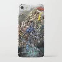 dark souls iPhone & iPod Cases featuring Dark Souls Knights of Gwyn by Donna A. / Karniz