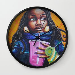 Pink Cup, Bundled Up Wall Clock