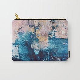 Breathe Again: a vibrant mixed-media piece in blues pinks and gold by Alyssa Hamilton Art Carry-All Pouch