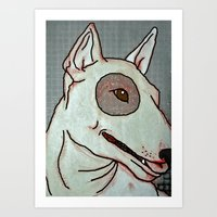 bull terrier Art Prints featuring Bull Terrier by Just Bailey Designs .com