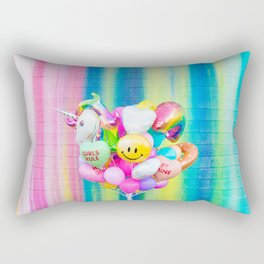 Colorful Balloons on Rainbow Wall Rectangular Pillow
