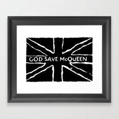 God Save McQueen Black and White Framed Art Print