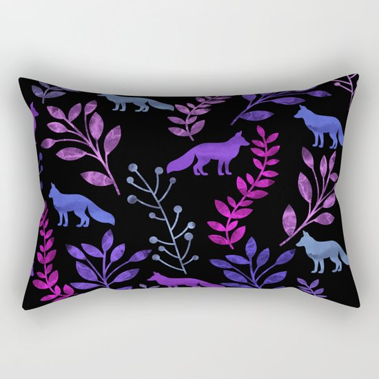 Watercolor Floral & Fox V Rectangular Pillow