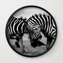 Let's Fight! // Wildlife Zebra Black Adn White Photography #society6 #art #prints Wall Clock
