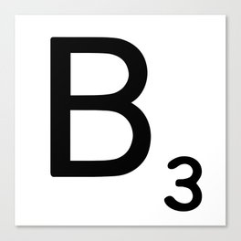 Letter B - Custom Scrabble Letter Wall Art - Scrabble B Canvas Print