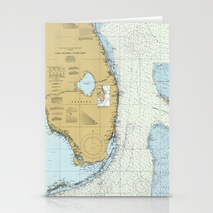 Atlantic Coast Florida Map.Florida Atlantic Coast Map 1982 Stationery Cards By Bravuramedia