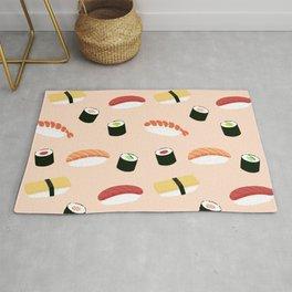 Lovely sushi - Seamless maki and nigiri sushi illustration pattern, pink background illustrati Rug