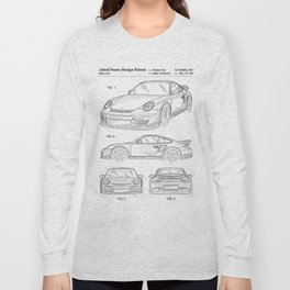 911 Sports Car Patent - 911 Carrera Art - Black And White Long Sleeve T-shirt