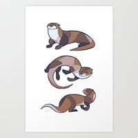 otter Art Prints featuring Otter by Jemma Salume