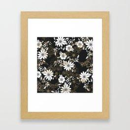 Modern black white faux gold elegant floral Framed Art Print