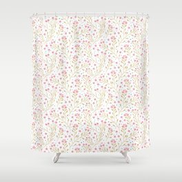 Floral pattern. Pink Flowers. Forget-me-nots. Shower Curtain