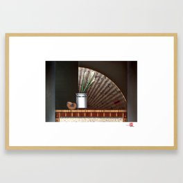DW-010 Calla Lilies With Japanese Fan Framed Art Print