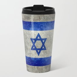 National flag of the State of Israel with distressed worn patina Travel Mug