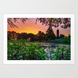 Sunrise Over Potter Lake and the Campanile Tower Art Print