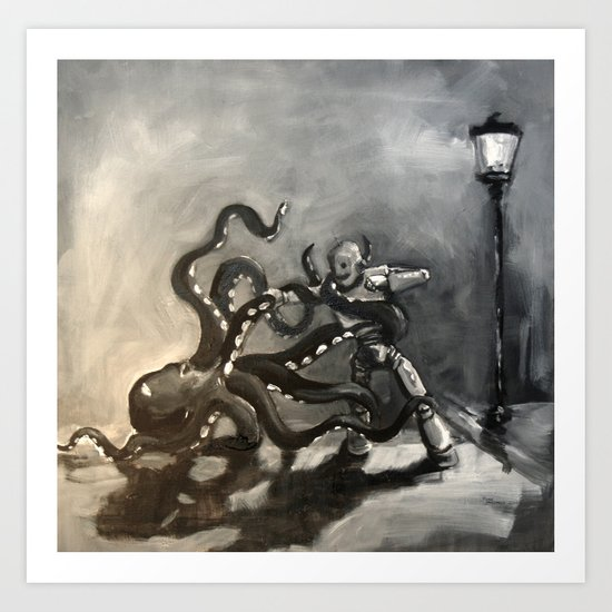 Octopus Wrestling with a Robot Art Print
