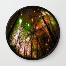Black Trees Peach Brown Green Space Wall Clock
