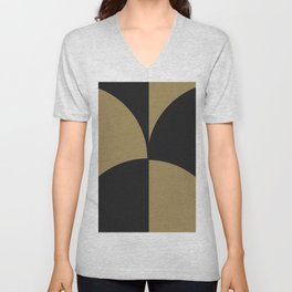 Diamond Series Round Checkers Charcoal on Gold Unisex V-Neck