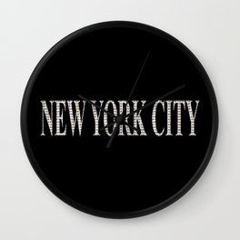 New York City (type in type on black) Wall Clock